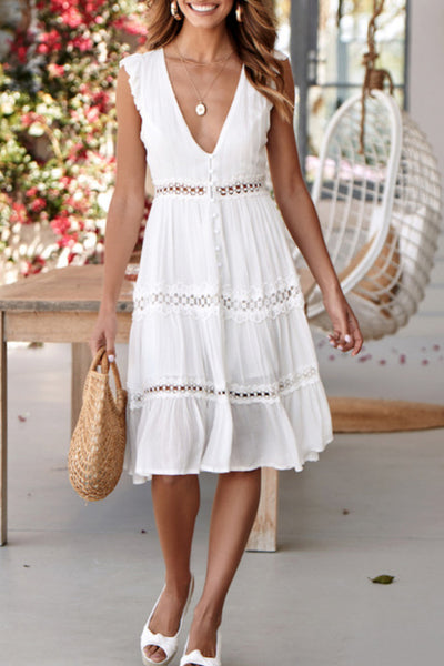 Deep V Neck  Plain  Sleeveless Skater Dresses