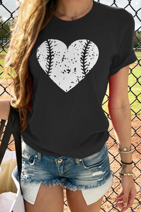 Round Neck Heart Printed T-Shirts