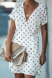 V Neck  Dot  Short Sleeve Casual Dresses
