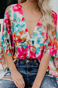 V Neck Floral Printed Loose Flare Sleeve Blouses