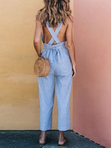 Linen Cross Strap Sexy Jumpsuits