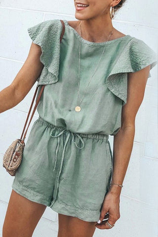 Round Neck  Plain  Short Sleeve  Playsuits