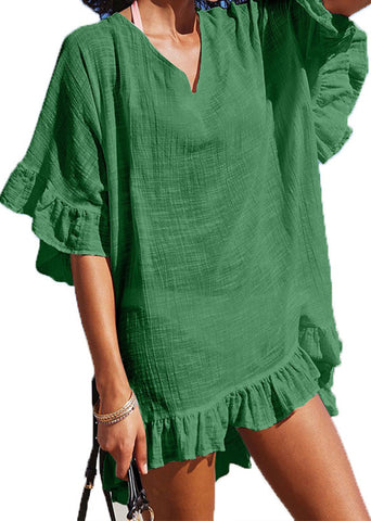 Casual V Neck Ruffled Pleated Sun-Protective Splicing Dress