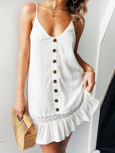 Spaghetti Straps Sleeveless Plain Lace Patchwork Casual Dresses