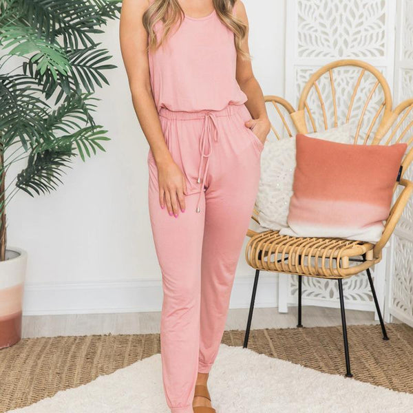 Casual Pure Colour Sleeveless Round Neck Elastic Belted Jumpsuit