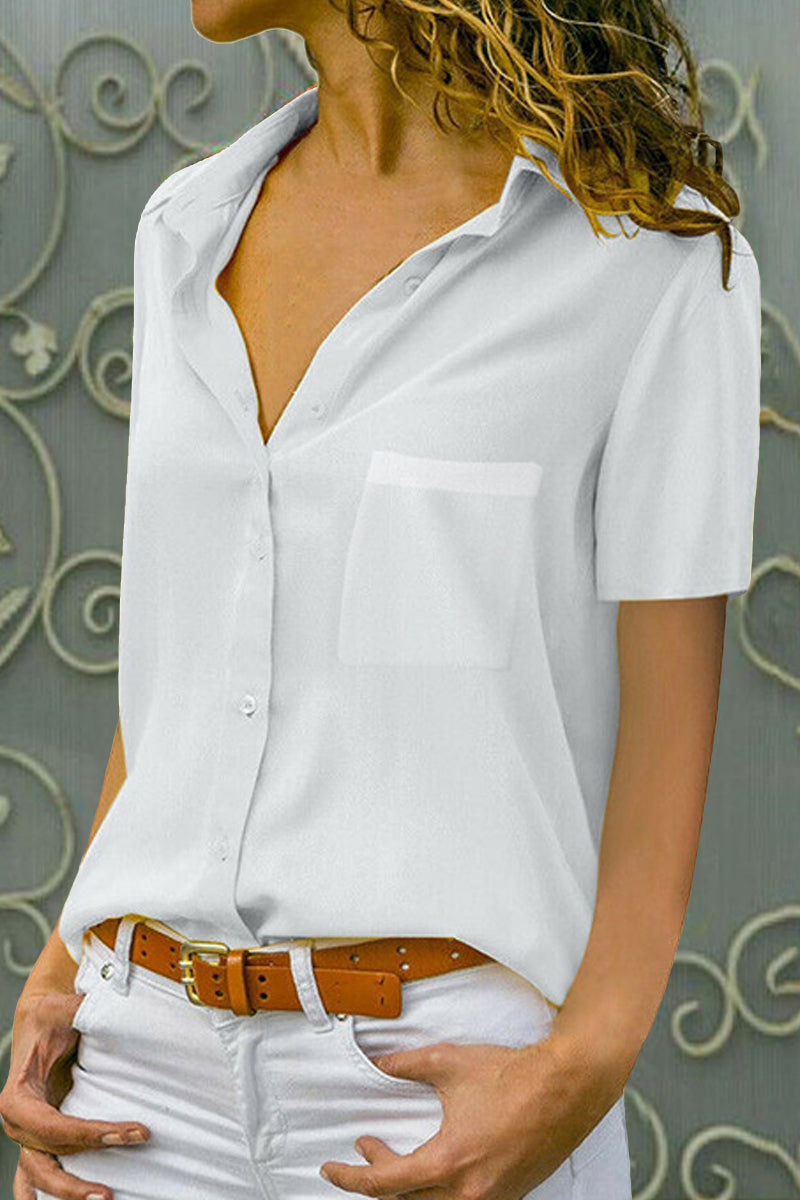 Notch Lapel  Patch Pocket Patchwork  Plain Blouses