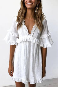 V-Neck Tiered Ruffled Dress