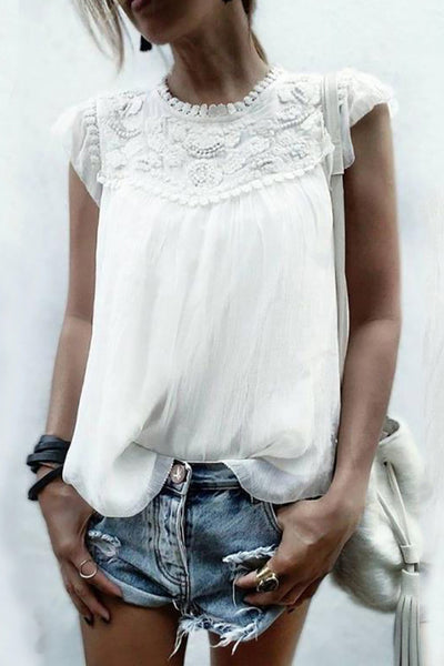 Elegant Round Neck Short Sleeve Inwrought Chiffon Top