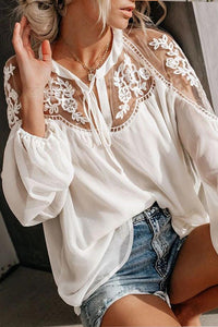 Deep V Collar  Regular  Sexy  Puff Sleeve  Long Sleeve Shirts & Blouses