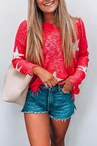 Autumn Star Print Off-Shoulder Sweater