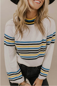 Ladies Casual Striped Knit Sweater