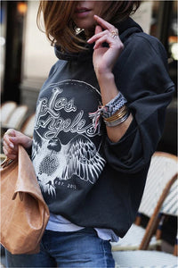 Casual Printed Loose Heap Collar Long Sleeves Sweatershirt