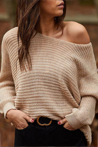 Knit off-the-shoulder solid color casual long-sleeved top