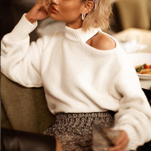 White Off-Shoulder Solid Color Knit Sweater