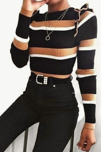 Round  Neck  Striped  Regular  Brief  Striped  Long Sleeve T-Shirts