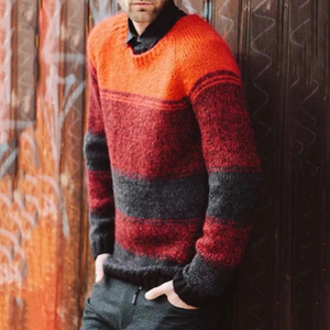 Casual round neck multicolor men's knit sweater