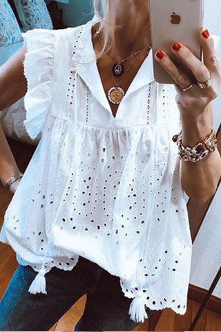 Fashion Short Sleeve Lace Fringe T-Shirt