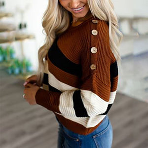 Knitted striped color decorative button sweater
