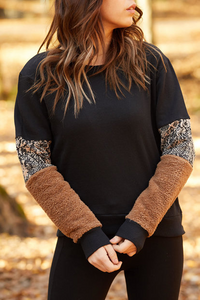 Sleeve stitching leopard print long sleeve sweater