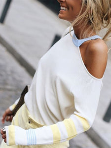Casual Single Shoulder Collar Long Sleeve Sweater