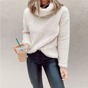 Casual fur high collar solid color knit sweatershirt