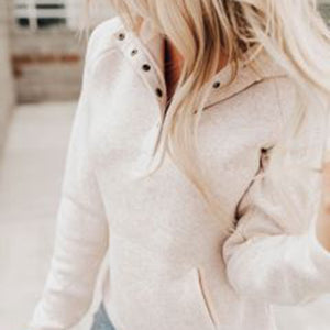 Casual long sleeves loose solid colour pocket sweatershirt