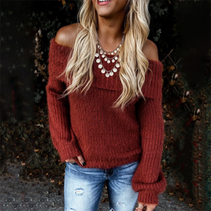 Knit Long Sleeve Off Shoulder Sweater