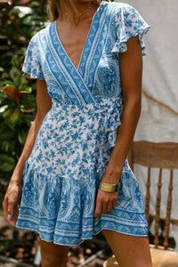 Fashion V Neck Floral Printed Belted Vacation Dress