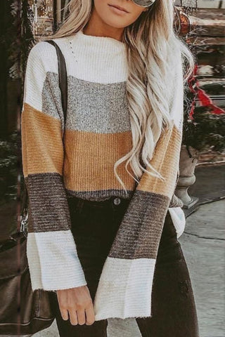 Casual Short High Collar Striped Long Sleeve Loose Sweater