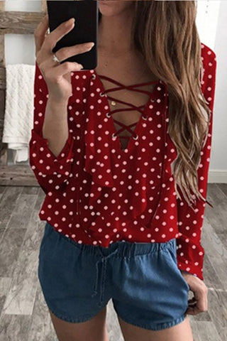 Irregular Collar  Regular  Polka Dot  Long Sleeve Shirts & Blouses