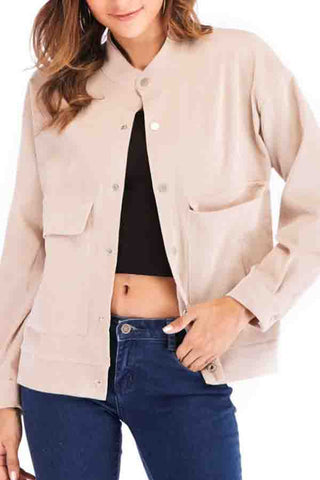 Band Collar  Single Breasted  Plain Jackets