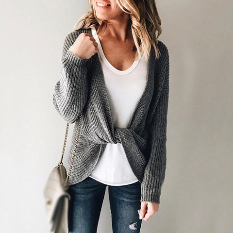 Casual knit long sleeve laced sweater