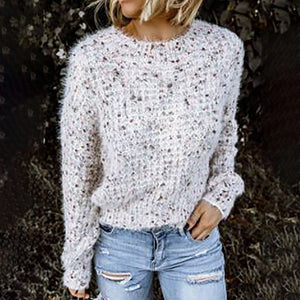 Casual round-neck knit sweater
