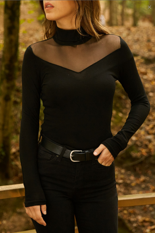 Black tight mesh t-shirt