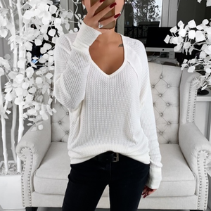 Casual Solid Color V-Neck Loose Knit T-Shirt