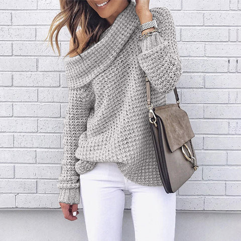 Women's off-the-shoulder sexy knit striped sweater