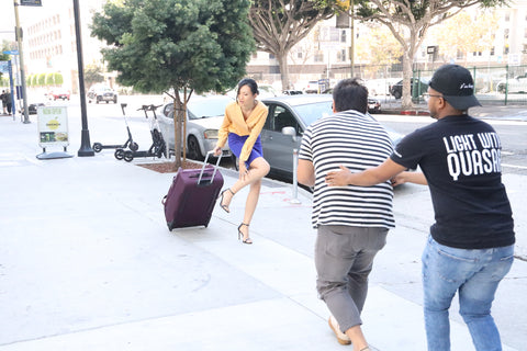Luggage on the go in LA