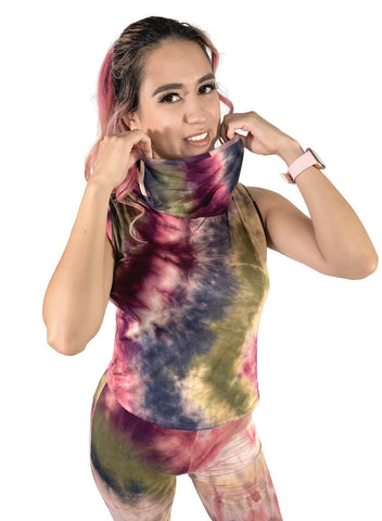 Tie Dye Top with Built-in Face Mask