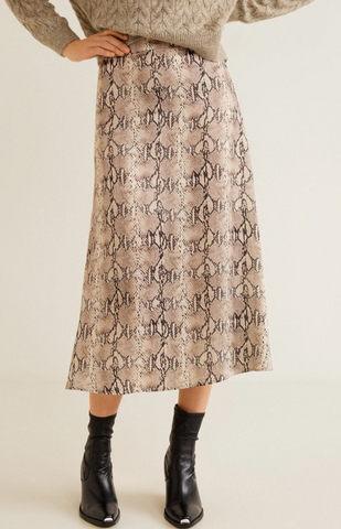 Tea length snake print skirt