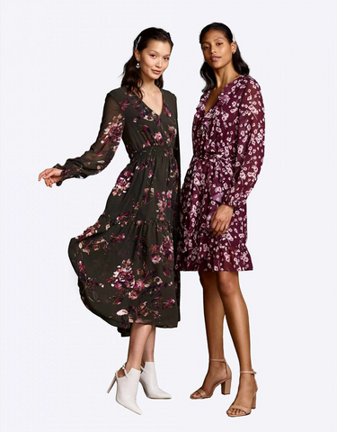 Dark floral long sleeve dresses