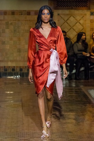 Satin dress runway
