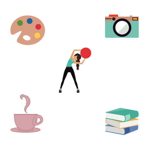 exercising, reading, books, tea, coffee, camera, photography