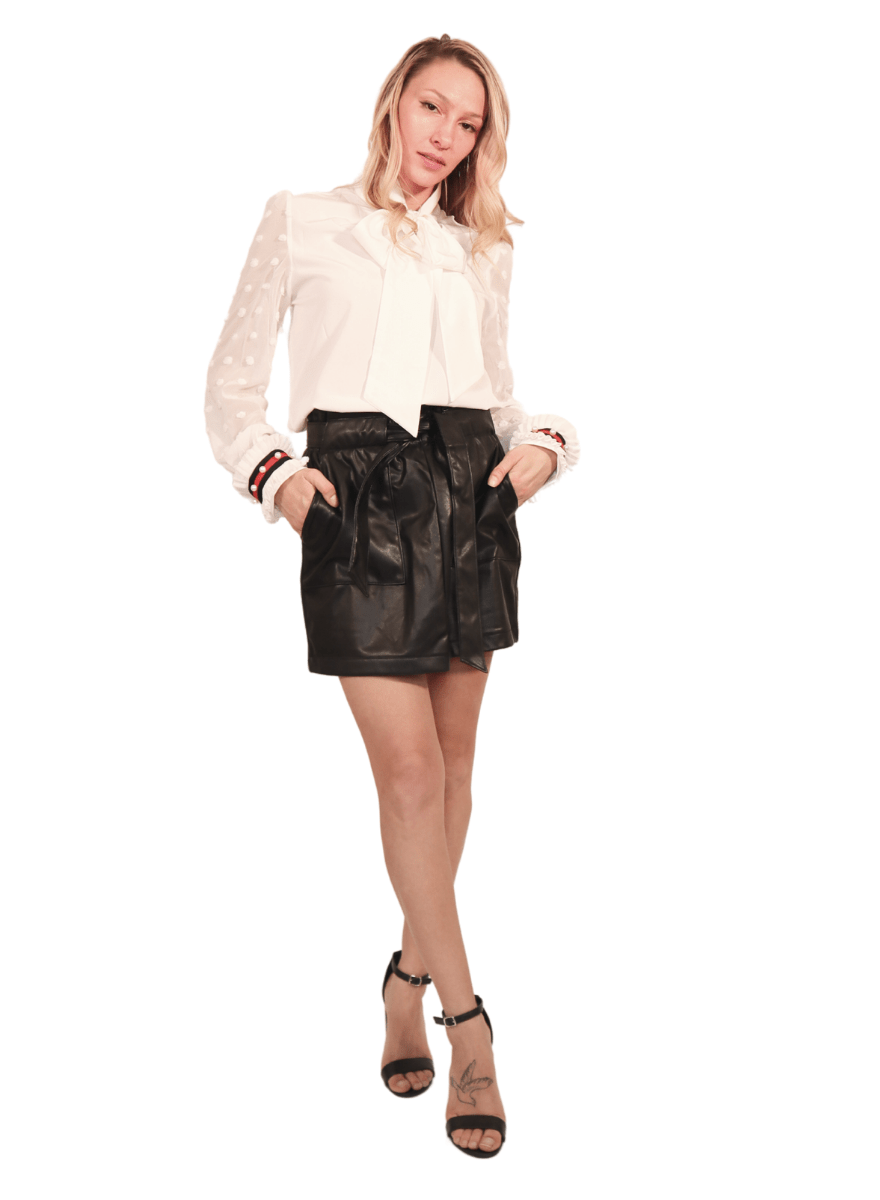 Zoe Vegan Leather Black Mini Skirt with Pockets