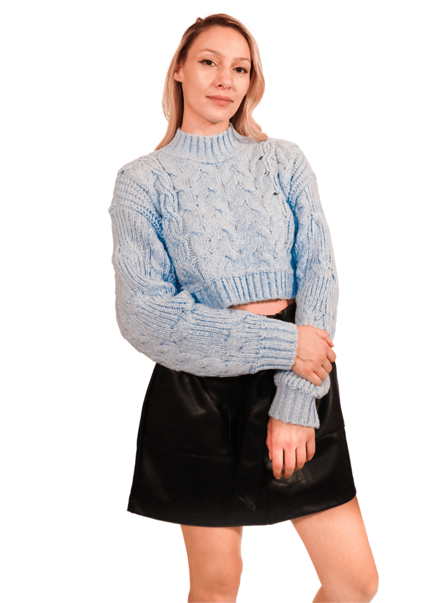 Sky Blue Cozy Knit Chunky Sweater