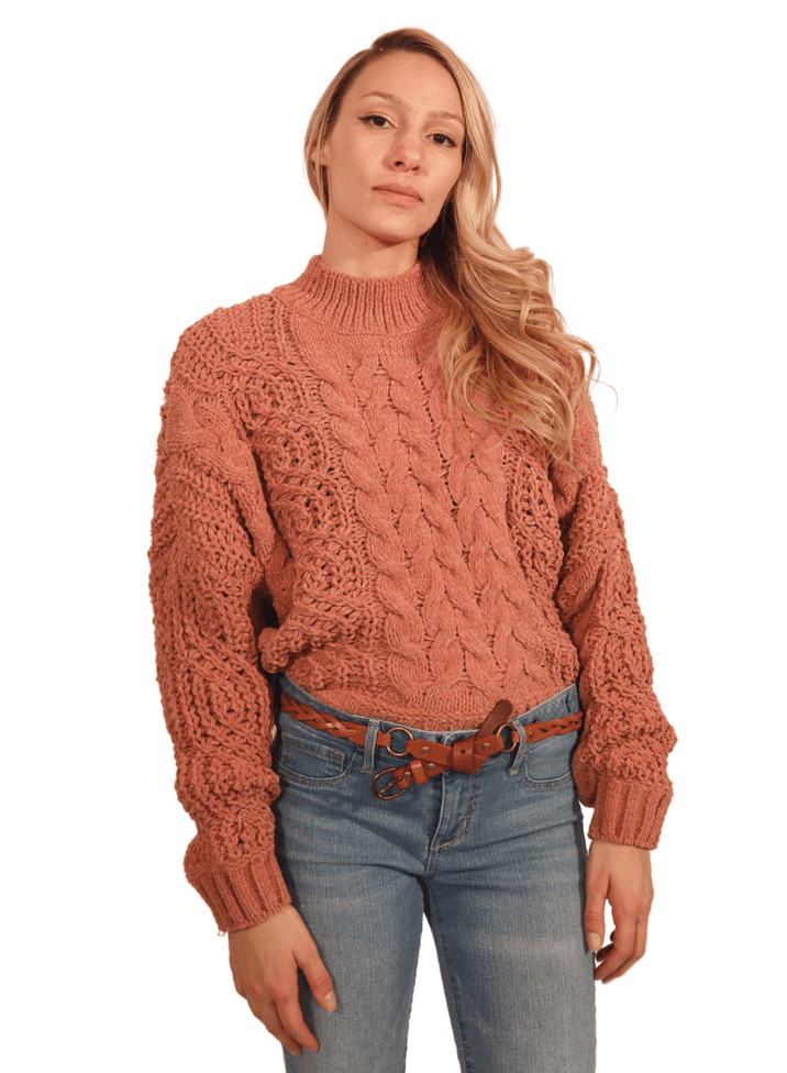 Audrey Cozy Mauve Knit Chunky Sweater