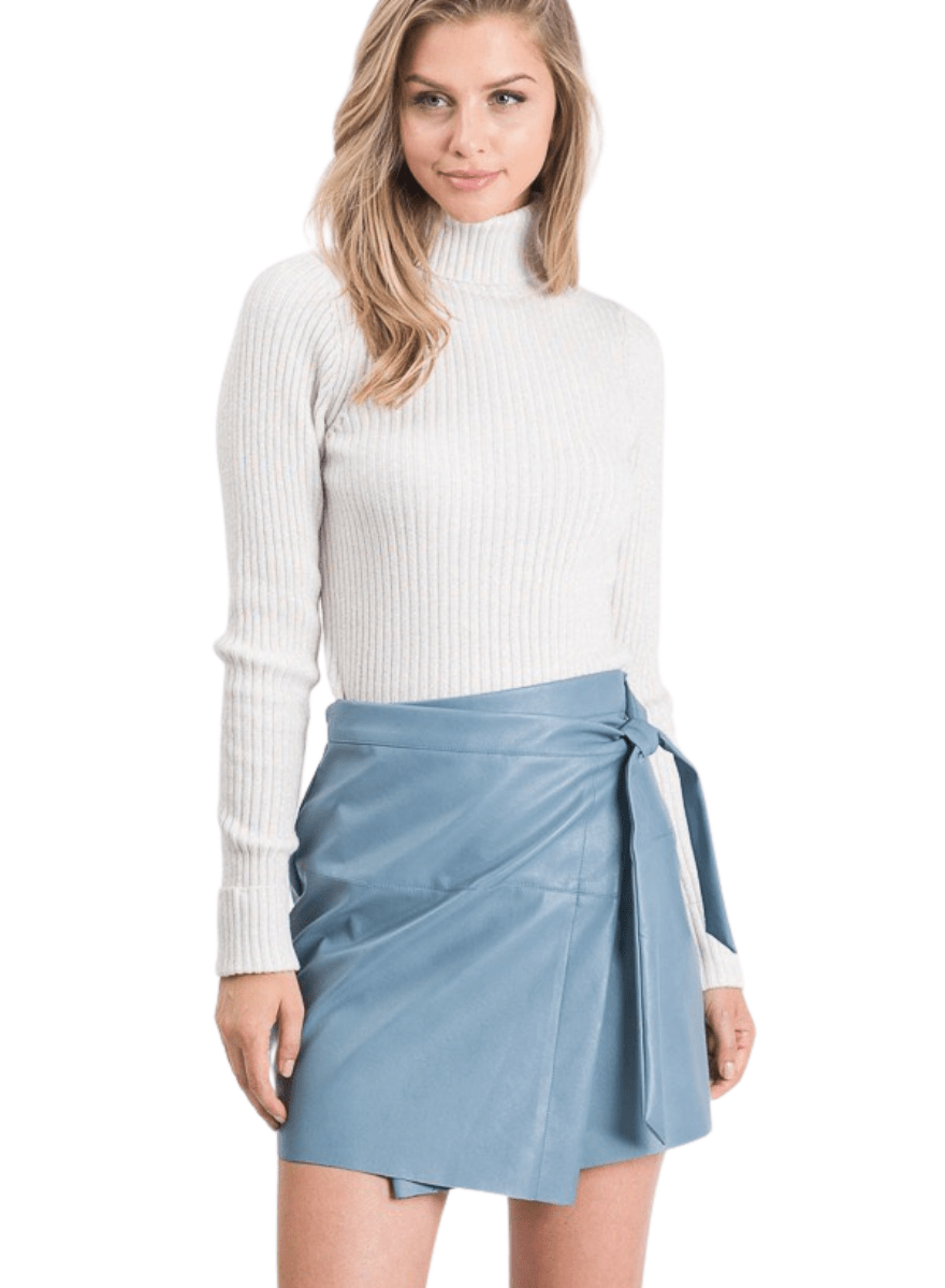 Kristen Vegan Leather Blue Mini Skirt - Adjustable Plus Free Face Mask
