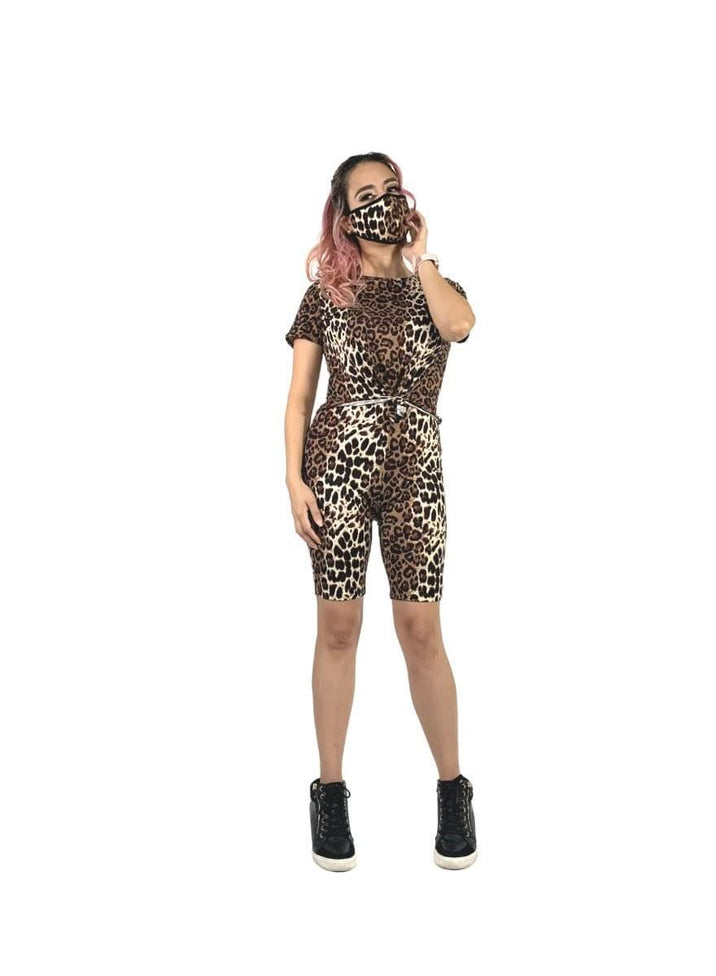 Animal print set with matching face mask