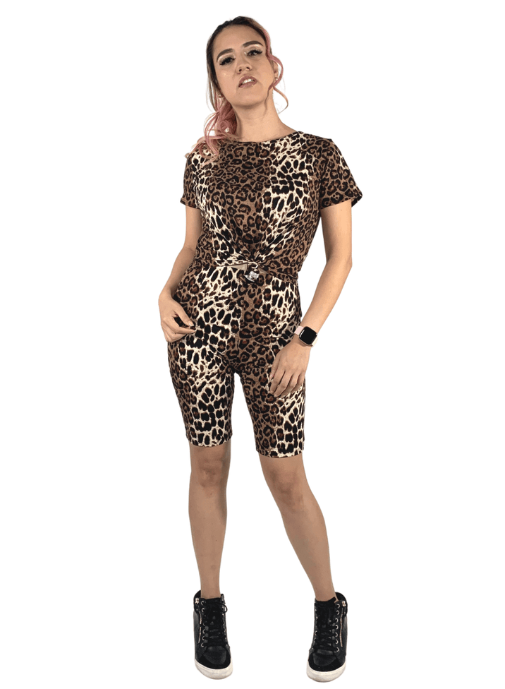 leopard biker short set with matching face mask