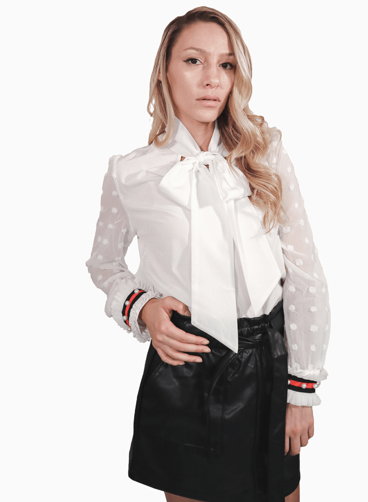 Pearl Pussy Bow Blouse - Long Sleeved with pleated cuffs
