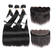 Brazilian Lace Frontal Straight Human Hair Weaves Non-Remy 4 Pcs/Lot